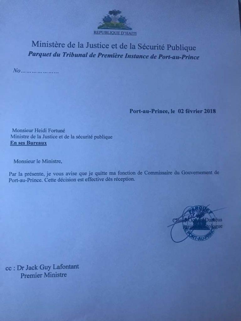 lettre démission commissaire du gouvernement ocnam dameus
